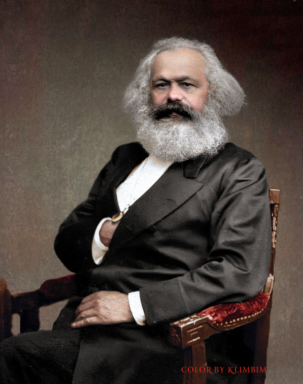 A color photo of Karl Marx in 1875. Colorization by  Klimbim