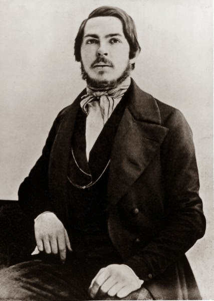 A photograph of a young Friedrich Engels, Marx's co-author of The Communist Manifesto, in c. 1845.