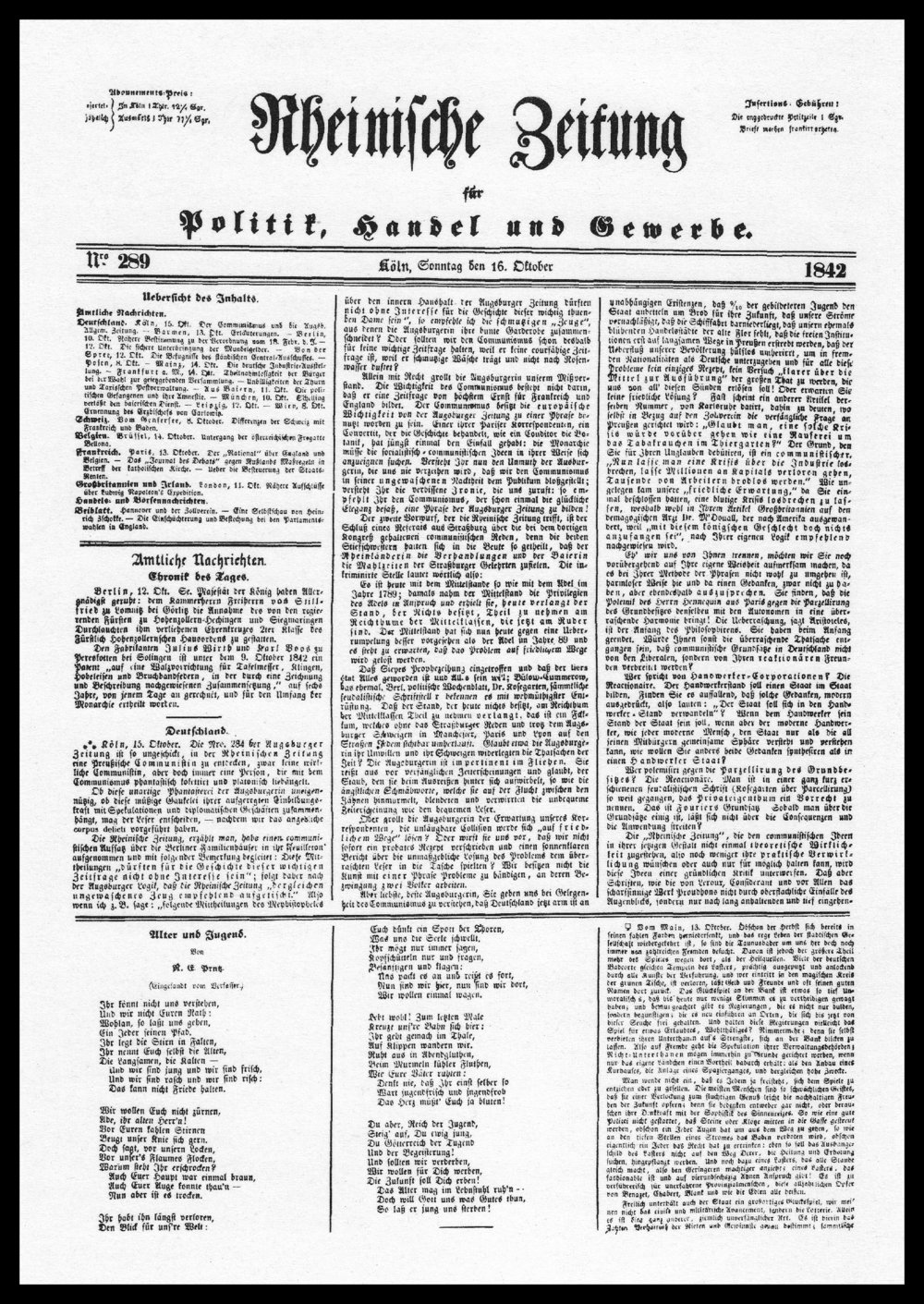 The front page of Rhineland News (Rheinische Zeitung) on the 16th October 1842. Karl Marx wrote and edited for the newspaper.
