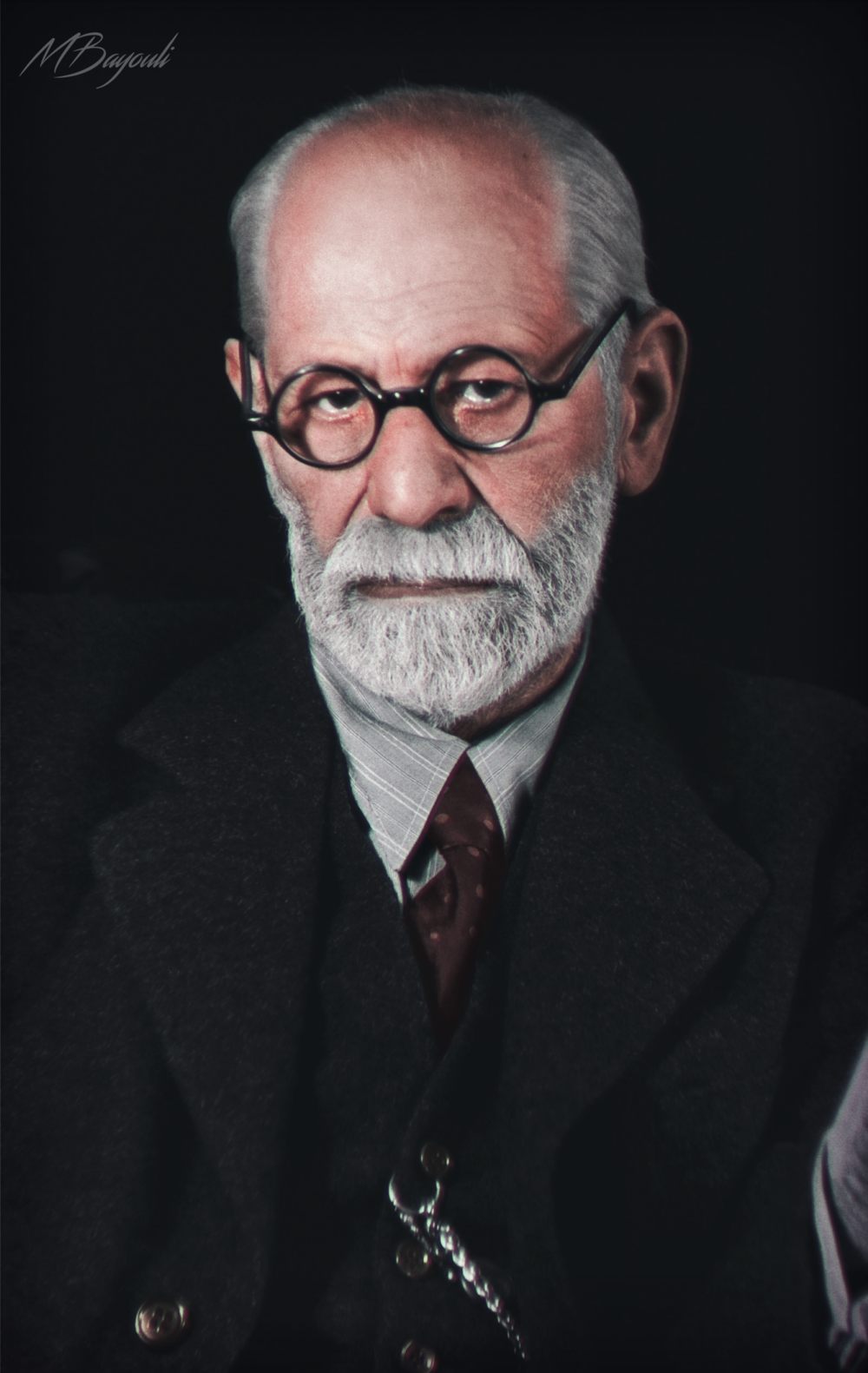 A color photograph of an 83-year-old Sigmund Freud in 1939. He died in September of that year. Colorization by  Mohamed Bayouli