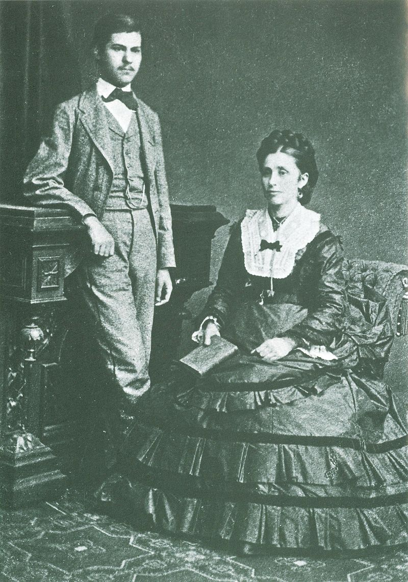 A photograph of Sigmund Freud with his mother, Amalia Freud, in 1872. Freud was 16-years-old in this photo.