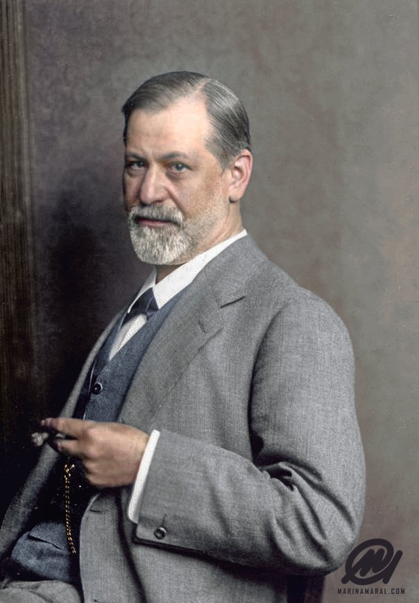 A colorized photograph of Sigmund Freud in 1914 at the age of 58. Colorization by  Marina Amaral