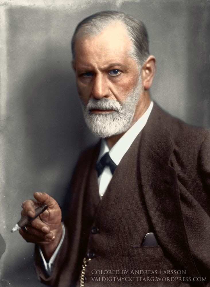 Sigmund Freud smoking a cigar in c. 1921. Colorization by  Andreas Larsson