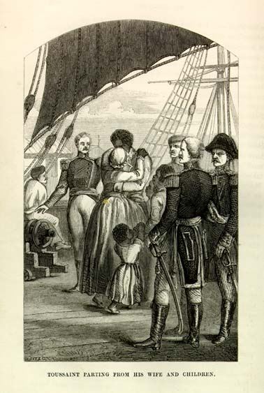 A J. R. Beard engraving depicting Touissant Louverture departing from his wife and children.