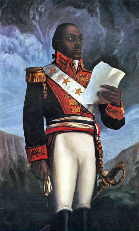 A painting of General Touissant Louverture wearing his military uniform.