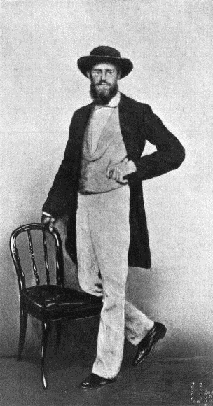 A photo of a 39-year-old Alfred Russel Wallace in Singapore in 1862.