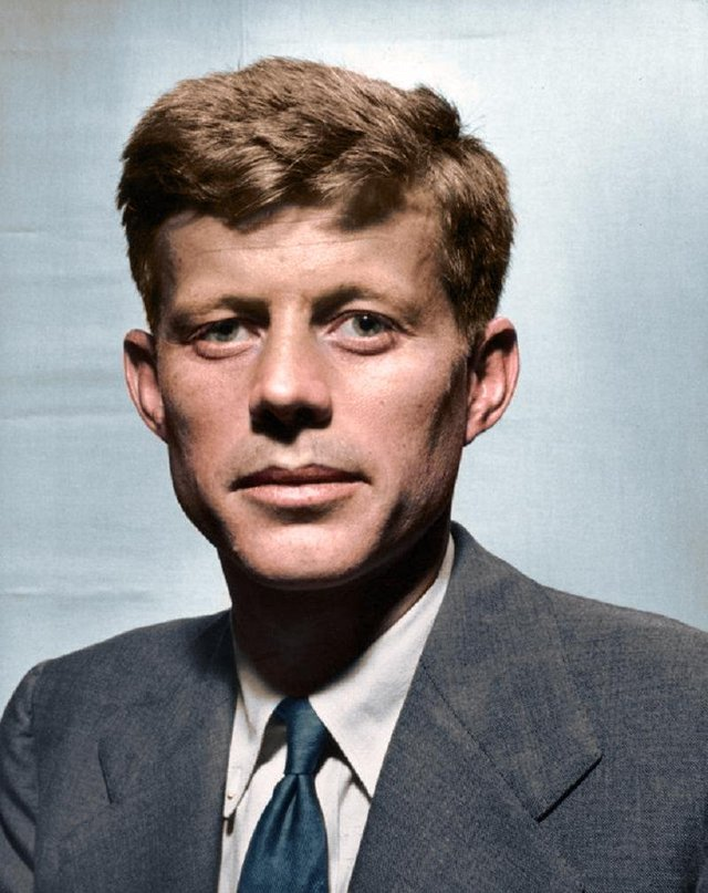 A 30-year-old John F. Kennedy (JFK), in 1947 during his first year as a representative of the 11th Congressional District of Massachusetts in the House of Representatives. Colorization by  Mads Madsen