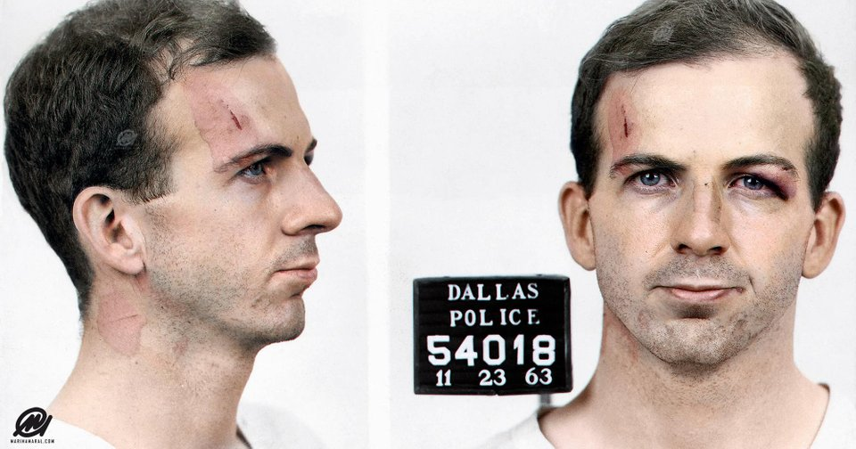 The mugshot of Lee Harvey Oswald in color. Colorization by  Marina Amaral