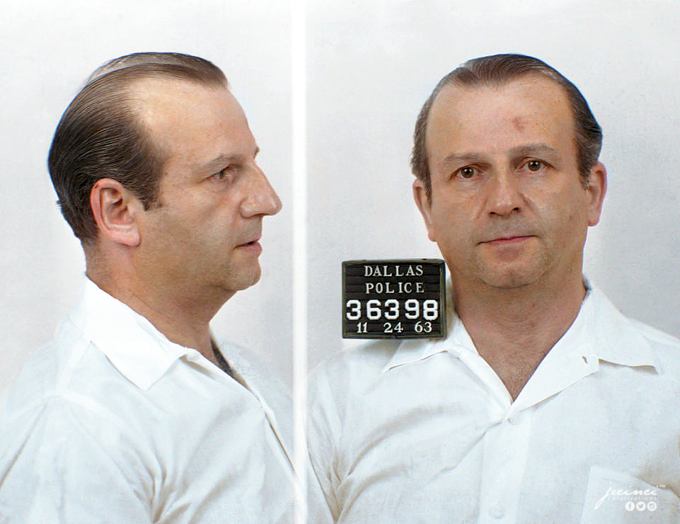 The mugshot of Jack Ruby in color. Colorization by  Jecinci