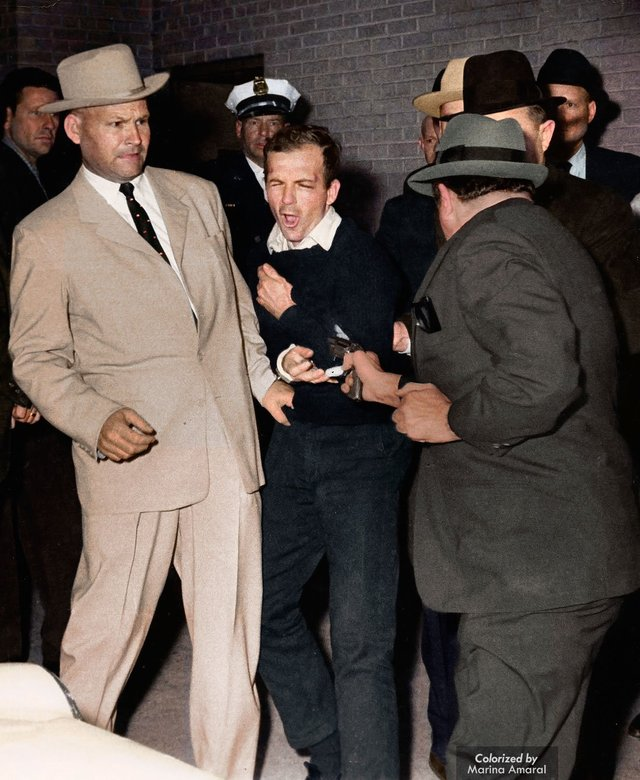 The assassination of Lee Harvey Oswald by Jack Ruby on the 24th November 1963. Colorization by  Marina Amaral