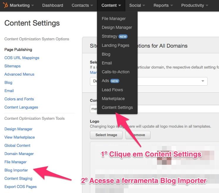 Acesse a Ferramenta Blog Importer pelo menu de Configurações de Conteúdo no HubSpot Marketing