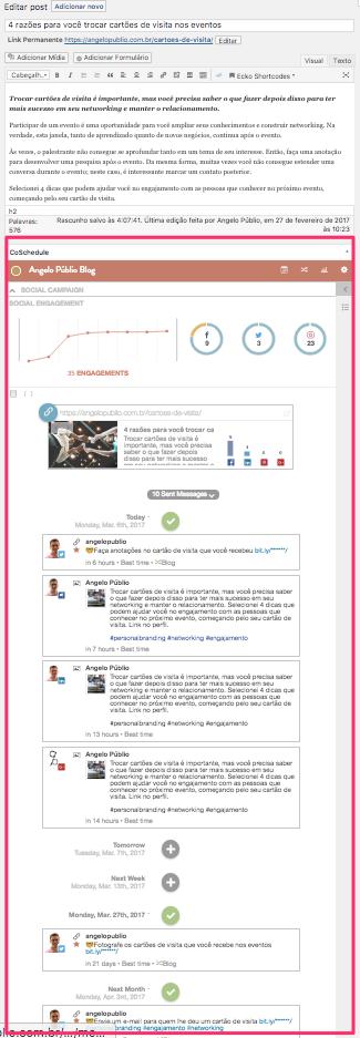 Área do CoSchedule para agendar as publicações nas redes sociais durante a edição do artigo no WordPress