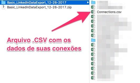 Arquivo .CSV com os dados de suas conexões do LinkedIn