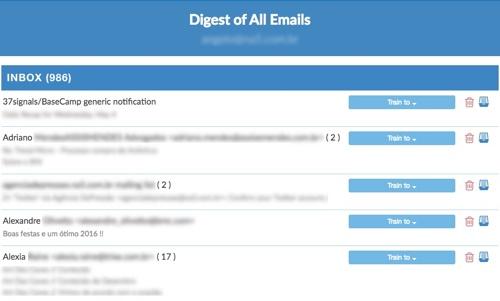 Arquivo de emails na caixa de entrada para treinamento do SaneBox