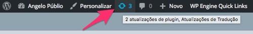 Aviso de atualizações na barra de administração do WordPress
