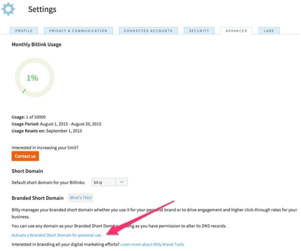 Bitly - Clique no link indicado para vincular o seu novo domínio curto à sua conta