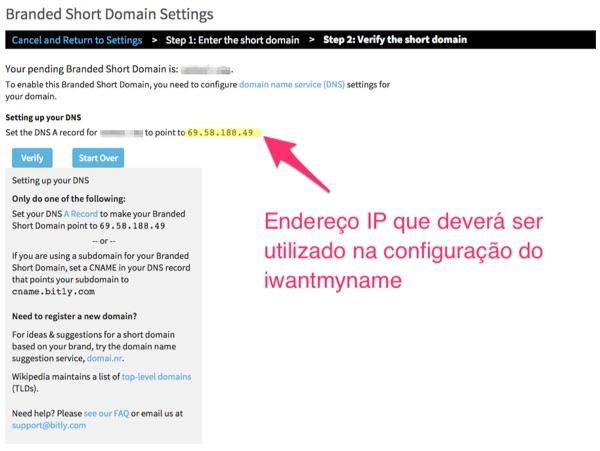 Bitly - Copie o endereço de IP e cole no iwantmyname