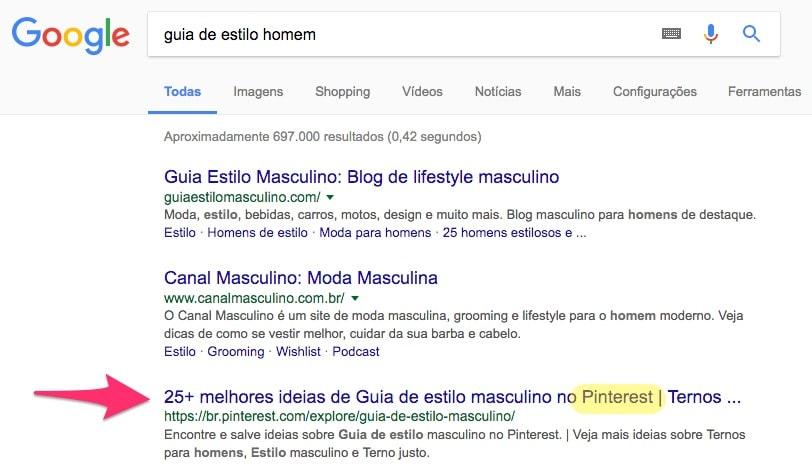 """Busca no Google por """"guia de estilo homem"""""""