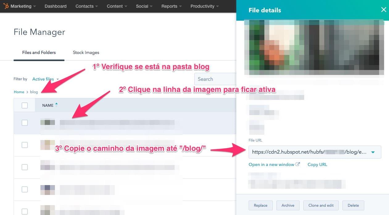 """Clique no nome de um arquivo que está na pasta """"blog"""" em seu File Manager do Hubspot Marketing"""