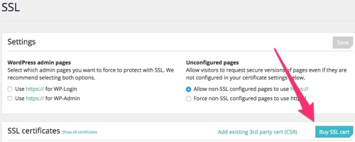 Compra e instalação automática do Certificado SSL na hospedagem WordPress WP Engine