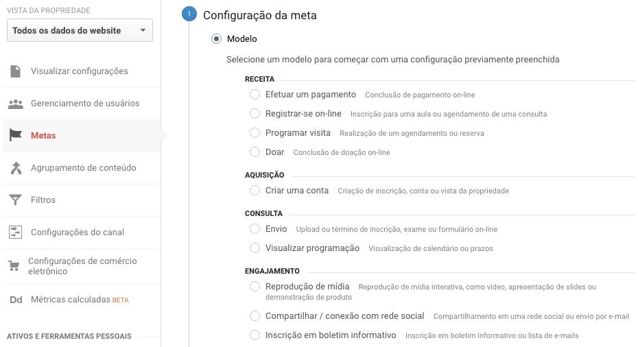 Configuração da meta - Google Analytics