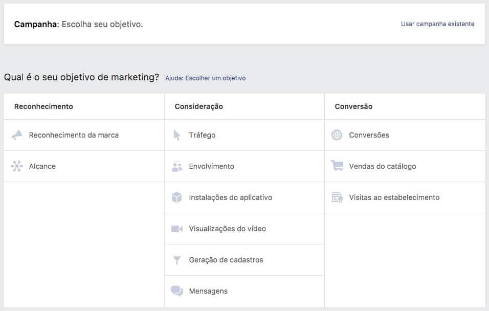 Criação de nova campanha no Gerenciador de Anúncios do Facebook Ads