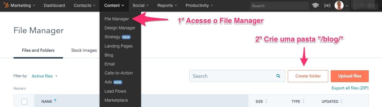"""Crie uma pasta """"blog"""" para migrar os seus arquivos de mídia do WordPress para o HubSpot Marketing"""
