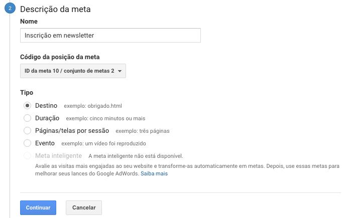 Descrição da meta - Google Analytics