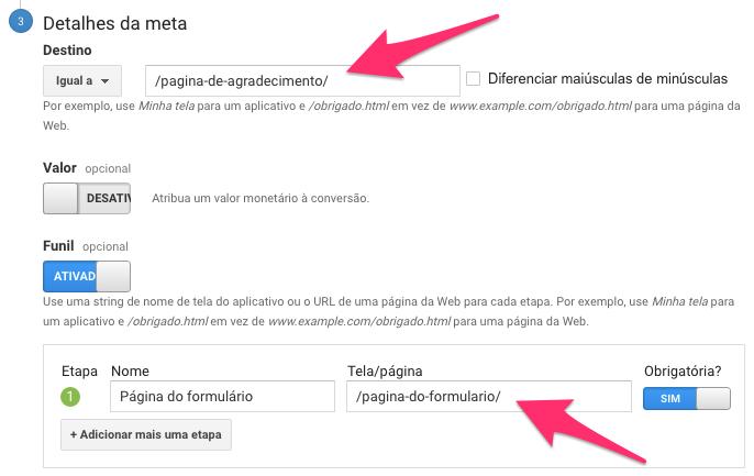 Detalhes da meta - Google Analytics