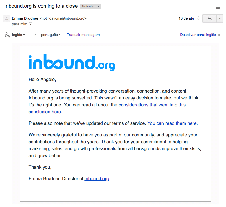 Email anunciando que o Inbound.org está chegando ao fim