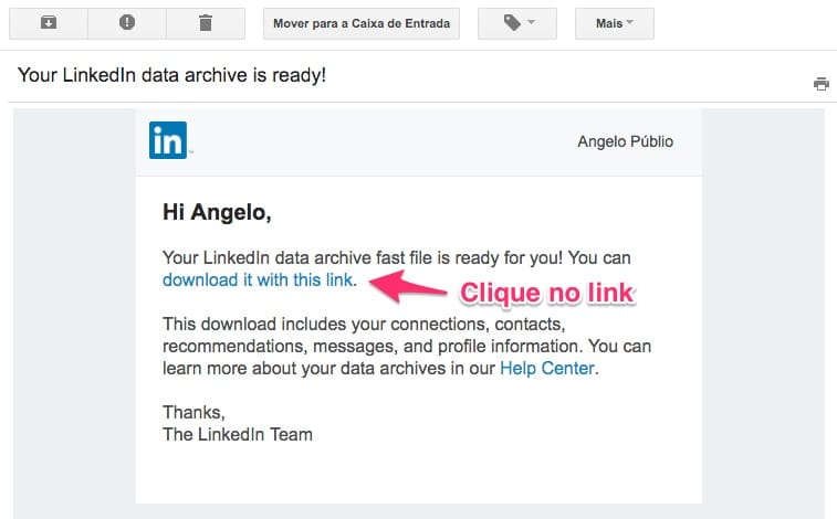 Email de notificação do LinkedIn avisando que o arquivo de exportação está pronto para download
