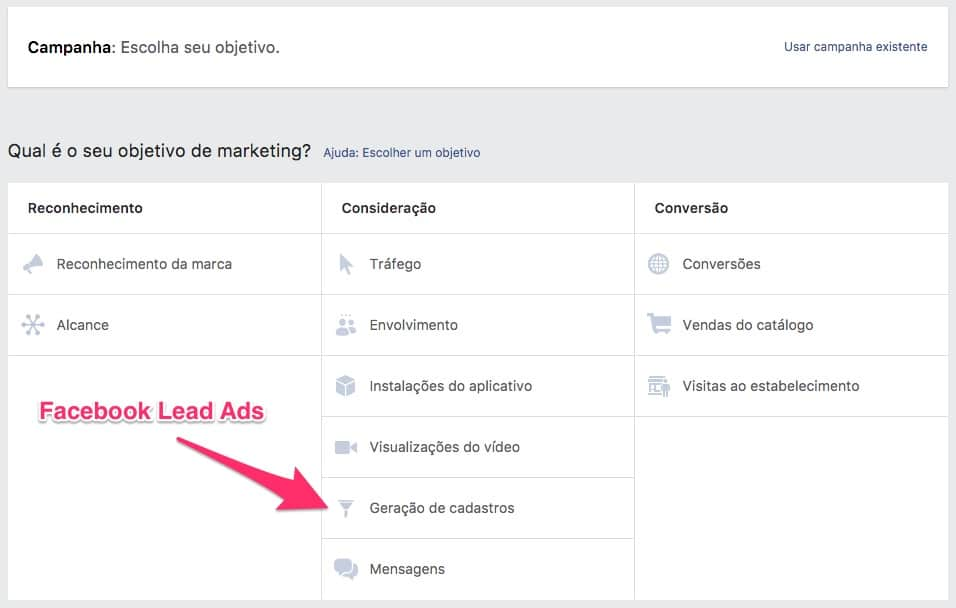 """Escolha a opção """"Geração de Cadastros"""" no """"Objetivo de Marketing"""" para criar uma campanha de Facebook Lead Ads no """"Gerenciador de Anúncios""""."""
