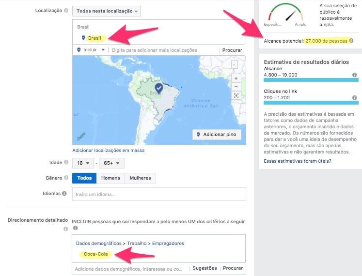 Exemplo de Alcance Potencial no Gerenciador de Anúncios do Facebook para um público que tem a Coca-Cola como empregadora