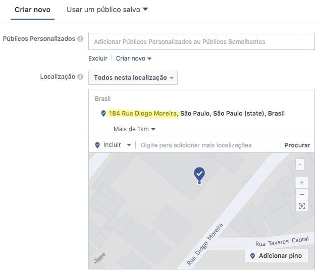 Exemplo de direcionamento detalhado de anúncios por localização no Facebook, usando como referência o endereço da sede da Bunge Alimentos disponível em seu website.
