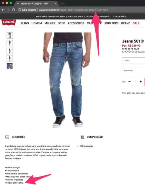 Exemplo do uso de SKU no ecommerce da Levi's para o produto Jeans 501® Original