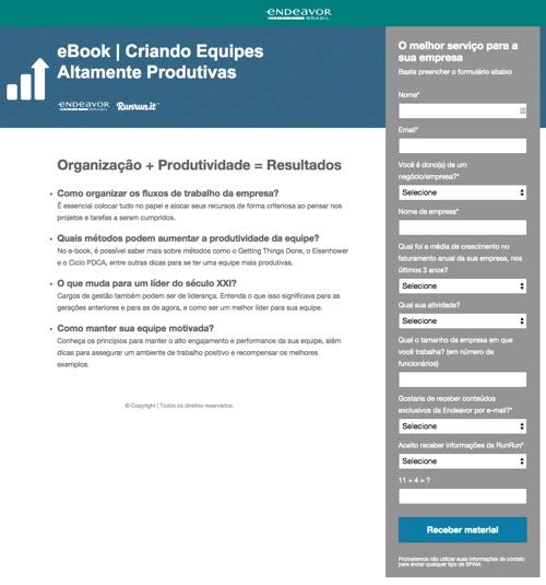 Exemplo de landing page com muitos campos de formulário - eBook Criando equipes altamente produtivas - Endeavor Brasil