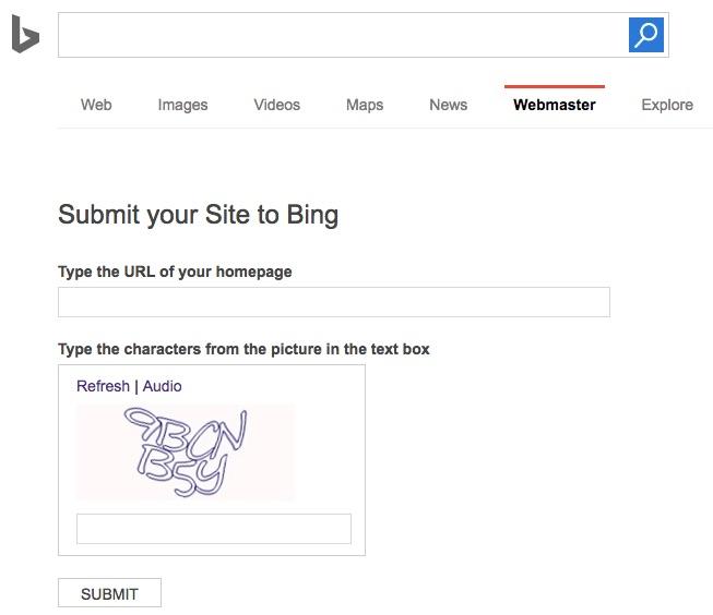 Formulário para adicionar seu site no Bing