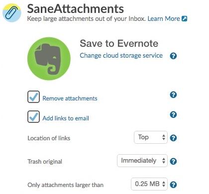 Integração SaneBox com Evernote para salvar anexos do email como nota