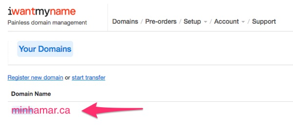 iwantmyname - Clique no link do domínio que deseja configurar no Bitly