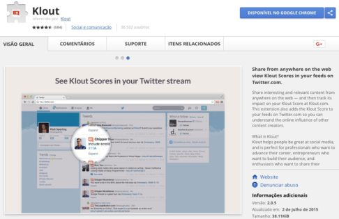Klout - Google Chrome Extension