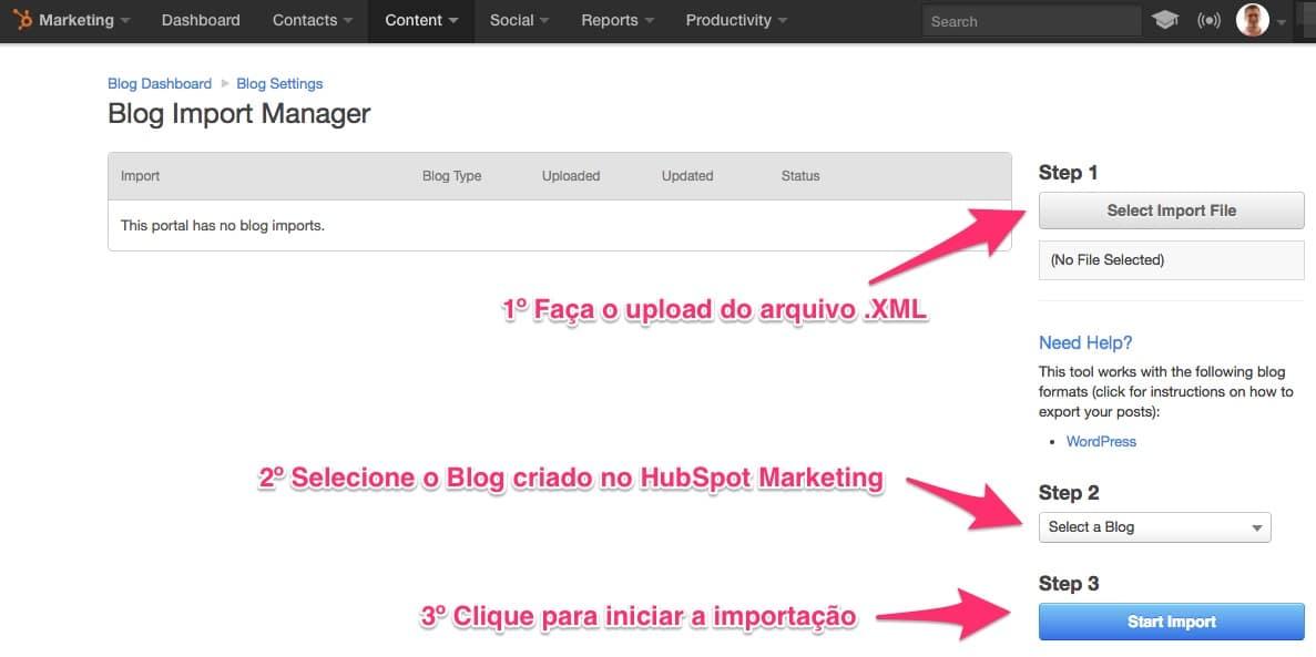 No Blog Import Manager faça o upload do arquivo de exportação do WordPress e inicie o processo de importação