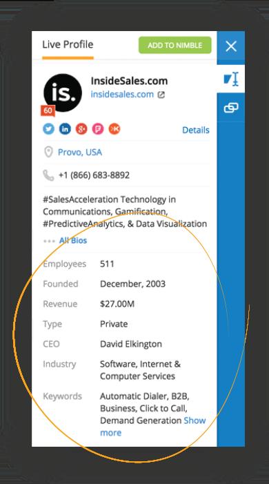 Obtendo os dados da empresa (conta) usando o Nimble CRM para Account Based Selling (venda baseada em conta)