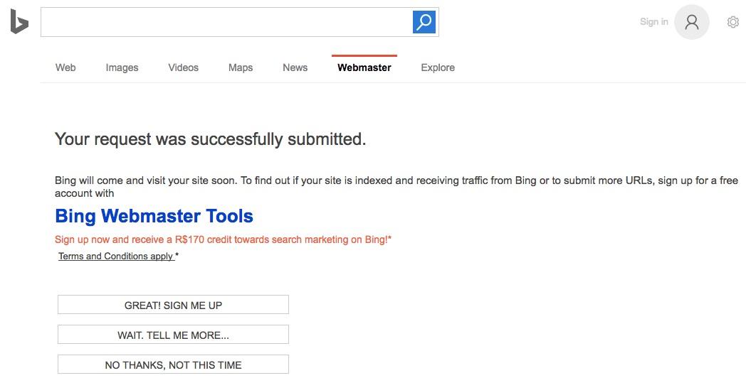 Página de confirmação que sua solicitação de cadastro do site no Bing foi enviada com sucesso.