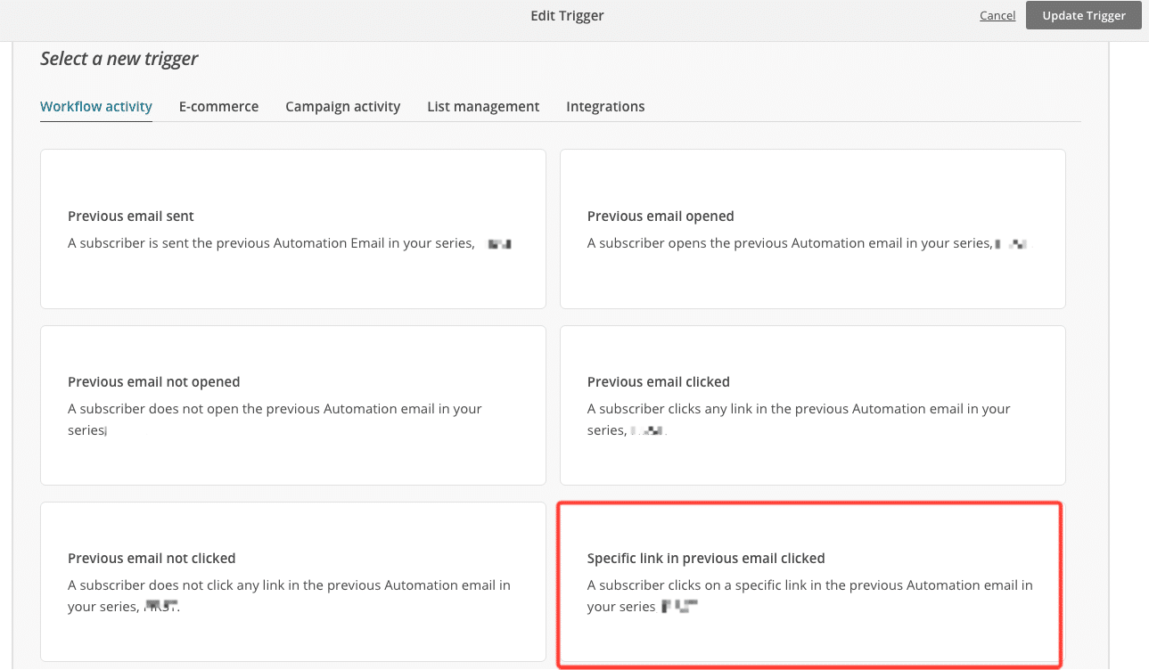 Specific link in previous email clicked - MailChimp