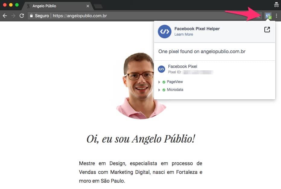 Use o Facebook Pixel Helper para verificar o Pixel do Facebook no seu site.