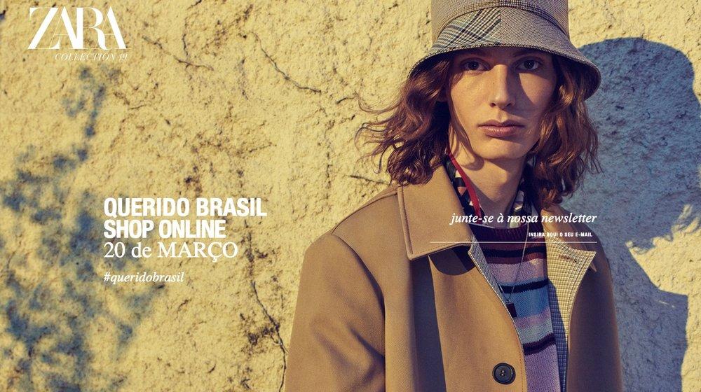 Anúncio realizado na página principal da Zara no idioma Português Brasil. Disponível em: <www.zara.com/br/pt/>. Acesso em: 07 março 2019