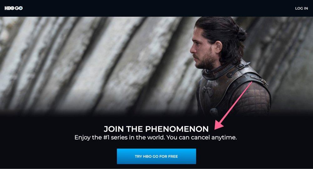 """Gatilho mental de """"Garantias"""" utilizado no Marketing Digital de Game of Thrones da HBO GO. Disponível em: <https://www.hbogo.com.br/landing>. Acesso em: 15 abr 2019."""