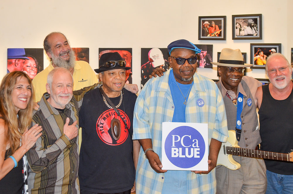 Lynn Orman, Allen Winkler join prostate cancer survivors all Rock Star musicians (Left to Right), Bluesmen, Corky Siegel, James Harp, Oscar Wilson, Andre Taylor and Jazz drummer, Paul Wertico. (not pictured, Michael Frank).