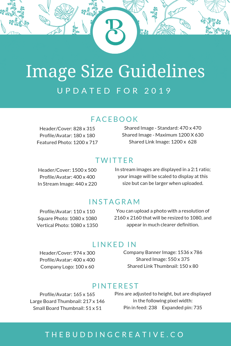 Social Media Image Size Guide 2019 - read the article that goes with this image at theBuddingCreative.co/resources