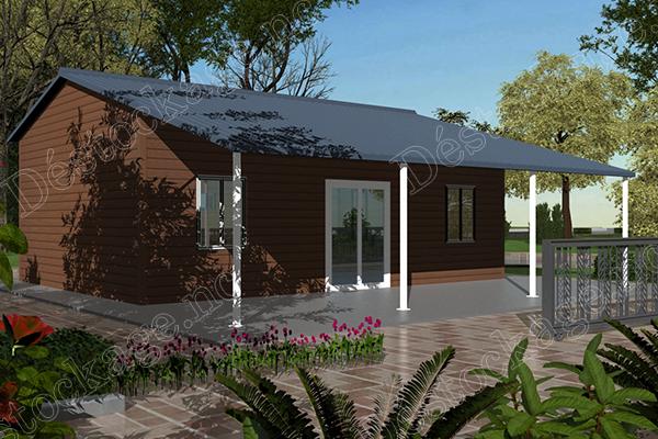 Maison préfabriquée de 52m² avec terrasse.